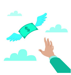 hand reaching for money vector image