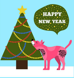 happy new years placard with tree and puppy icons vector image