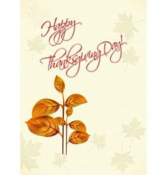 Happy thanksgiving day with leaves vector