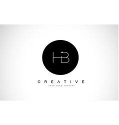 Hb h b logo design with black and white creative vector