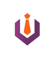 hexagon with tie logo vector image