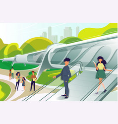 hyperloop station with people vector image