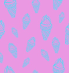 Ice cream cones seamless pattern vector image