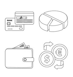 isolated object of bank and money sign collection vector image