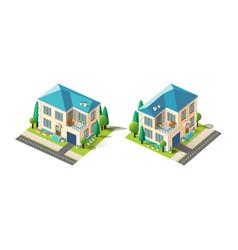 Isometric set beige house vector