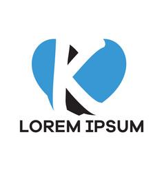K letter logo design letter in heart shape vector