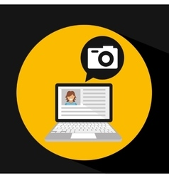 laptop social profile camera icon vector image