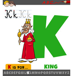 Letter k from alphabet with king character vector