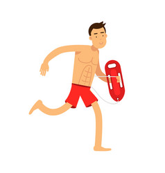 Lifeguard man character on duty running with life vector