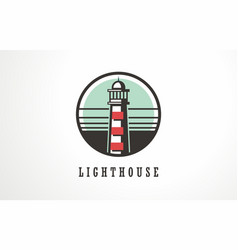 lighthouse beacon light symbol icon light marine vector image