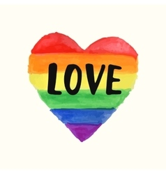 Love Gay Pride poster rainbow spectrum heart shape vector