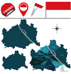 Map of vienna austria with named districts vector