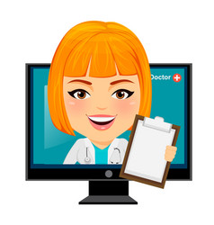 medical doctor woman appears from monitor funny vector image