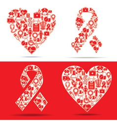 Medical icons make a heart and aids shape vector
