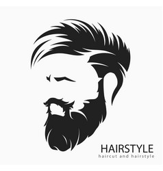 mens hairstyle with beard mustache vector image