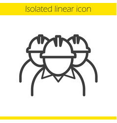 mine workers linear icon vector image