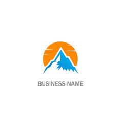 mountain sunset hill logo vector image