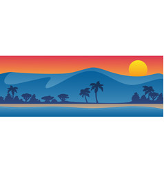 mountains with beach shoreline summer scene vector image