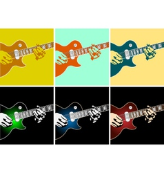 Musical background with guitar player vector