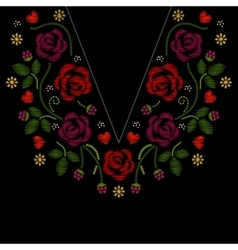 Neck line embroidery with roses flowers vector
