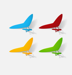 Paper clipped sticker aircraft glider vector