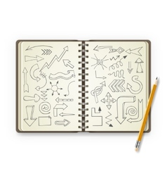 Pencil and open notebook with painted arrows vector