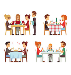 People in restaurant eating dinner flat vector