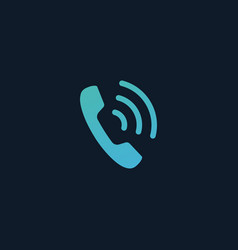 phone icon handset icon with waves telephone vector image
