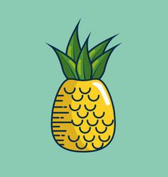 pineapple fresh fruit handmade drawn vector image vector image