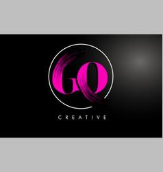 pink go brush stroke letter logo design vector image