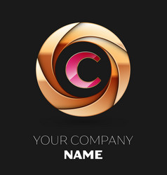 pink letter c logo symbol in golden circle shape vector image