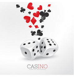 poker card elements with two dices vector image