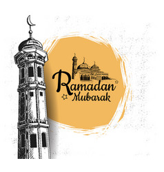 Ramadan mubarak with mosque tower hand drawn vector