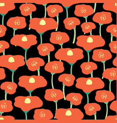 red poppy flowers seamless background vector image