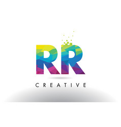 Rr r colorful letter origami triangles design vector