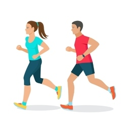 running man and woman vector image
