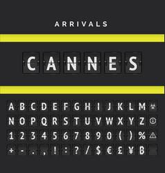 Scoreboard analog font arrival airport board vector