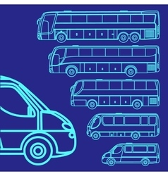 set different bus vector image