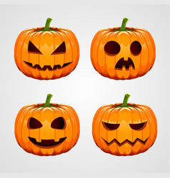 Set of halloween pumpkins funny faces autumn vector