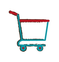 Shopping cart online delivery market empty sketch vector