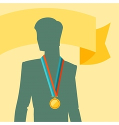 Silhouette of man with premium medal vector image