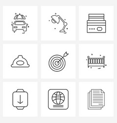 Simple set 9 line icons such as repair hat vector