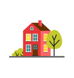 small cartoon red magenta house with trees vector image