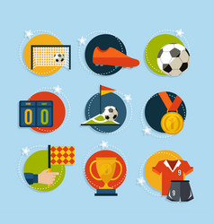 soccer game icon set in flat style vector image