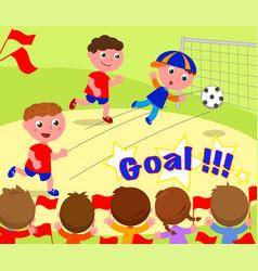 Soccer player scoring a goal vector