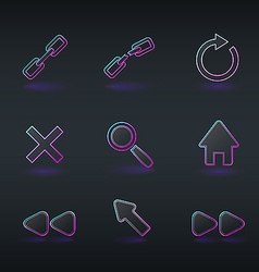 Technology icons and signs in modern neon style vector