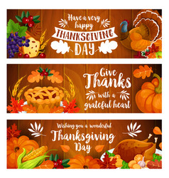 thanksgiving banner set with turkey cornucopia vector image
