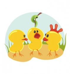 three little chickens vector image