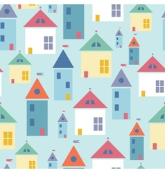 Town houses seamless pattern background vector image