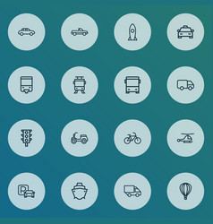 Transport icons line style set with aerostat vector